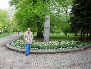 Photo: Matt in a park with a statue.  Lots of statues and parks in Riga