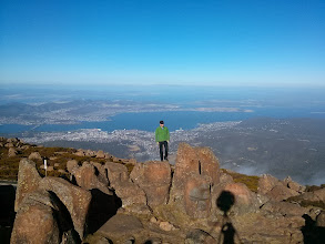 Photo: At the top of Mt Wellington, with a panoramic view over Hobart.