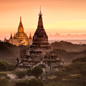 Golden Bagan by Joyce Chang - Landscapes Travel ( temple, myanmar, land, sunrise, bagan, stupa, golden )
