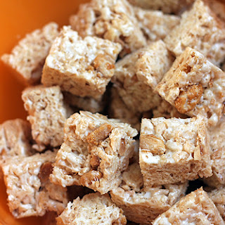 White Chocolate Rice Krispie Treat Recipe with Candied Peanuts.
