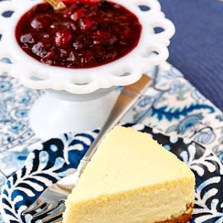 Roasted Corn Cheesecake with Cranberry Blueberry Compote.