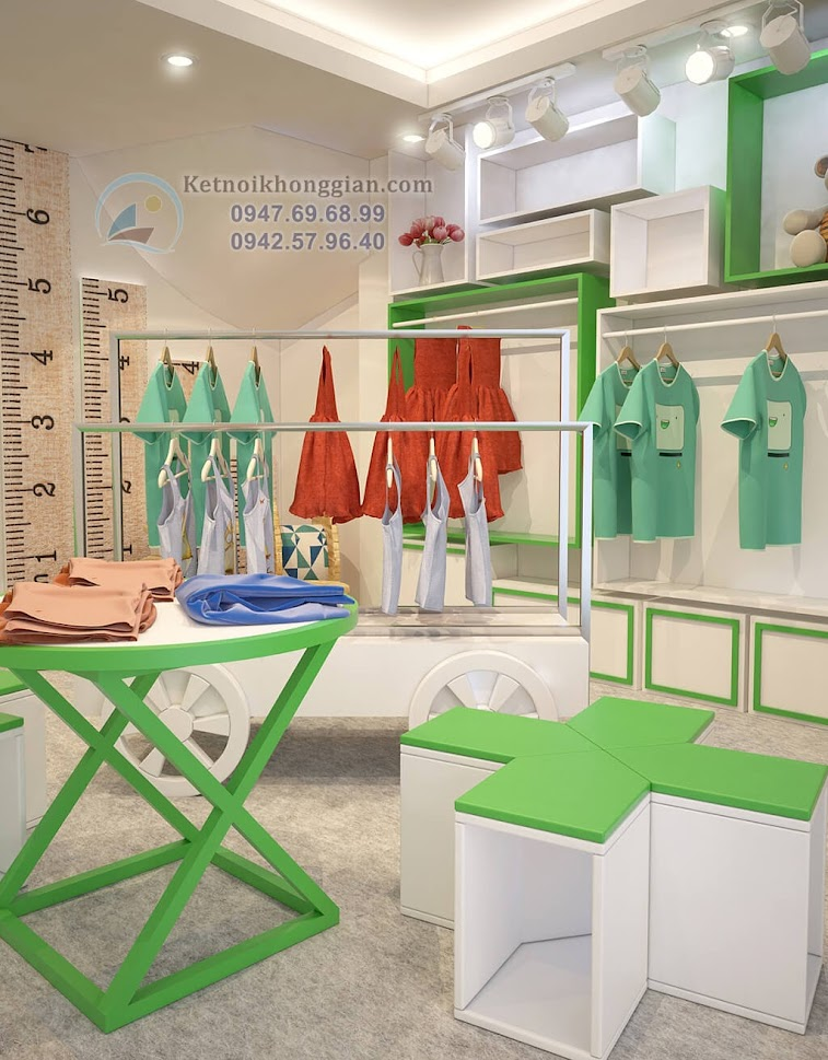 thiết kế shop thời trang trẻ em ấn tượng có chiều sâu