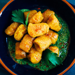 Harissa-Spiced Pumpkin Gnocchi w/ Parsley and Mint Pesto