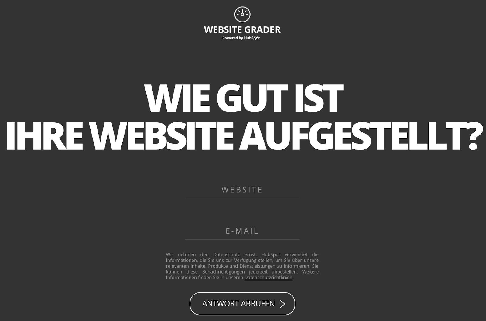 Anmeldung Website Grader