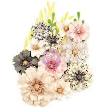 Prima Spring Farmhouse Fabric Flowers 15/Pkg - No Other Place UTGÅENDE