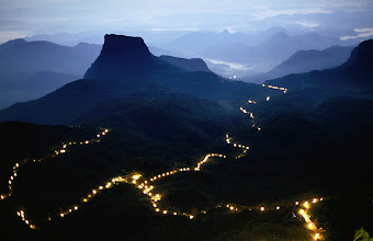 Photo: A long line of lights illuminates the path to the summit of Adam's Peak during the Poya Festival,Central,Sri Lanka,Indian Subcontinent