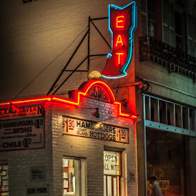 All Night Burger by Nathaniel Jorge - City,  Street & Park  Street Scenes ( roanoke va, neon, street, night, va, morning )