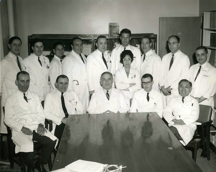 Photo: Louis Weinstein (front row, center) and his infectious diseases team, circa 1962. Dr. Phillip Lerner is immediately to the left of Weinstein. - - - - Phillip is the subject of his son Barron Lerner's book The Good Doctor: A Father, a Son, and the Evolution of Medical Ethics (2014, Beacon Press).
