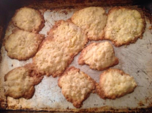 Press into baking sheet 2 inches apart. Bake At 350 degrees. For 20-25 minutes....