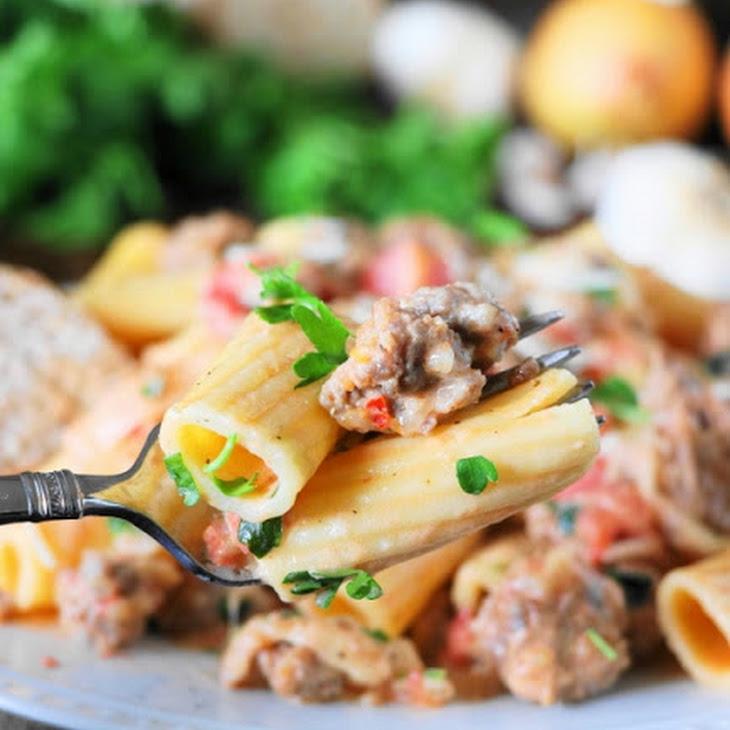 Pasta in Creamy Sausage Sauce (Printable Recipe) Recipe
