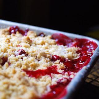 Rhubarb Cherry Rosewater Crumble
