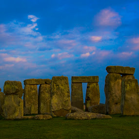 Twilight in the henge by Teri Garrison-Kinsman - Buildings & Architecture Public & Historical ( stonehenge, sunset at stonehenge, henge, stonehenge monument, stone circle, sunset england, twilight at stonehenge, english countryside, stone monument, amesbury england )