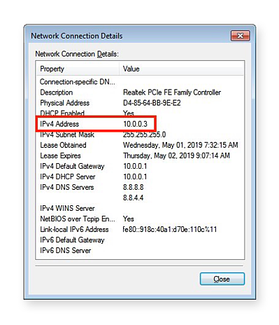 """Clicking """"Details"""" shows this screen, which includes several network parameters, including your local IP address."""