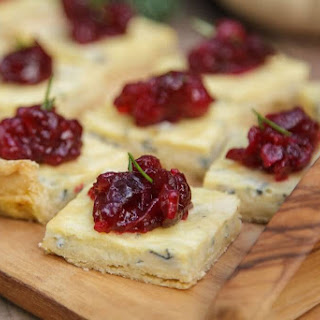 Blue Cheese Tart with Cranberry Sauce