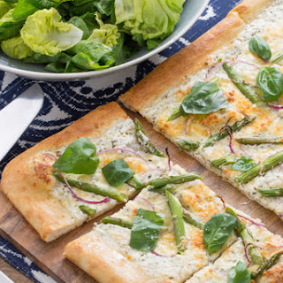 Spring Asparagus Pizza with Butter Lettuce & Pea Tip Salad