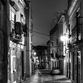 Old and Lonely. by Eugénio Buchinho - City,  Street & Park  Street Scenes ( street, city lights, night )
