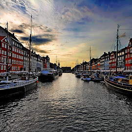 Nyhavn  by Lourens De Beer - City,  Street & Park  Historic Districts ( harbour, yacht, nyhavn, copenhagen, historic, seaside, sunset, boats )