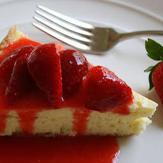 Brie Cheesecake with Shortbread Crust and Strawberry Sauce . . . (Step aside, Chocolate Bunny.).