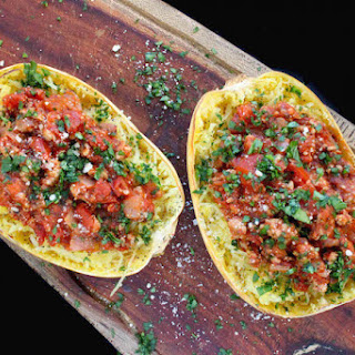 Spaghetti Squash With Healthy Meat Sauce.