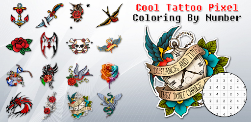 ++50 Cool Tattoos, Lets try something new! coloring by number your cool tattoo!