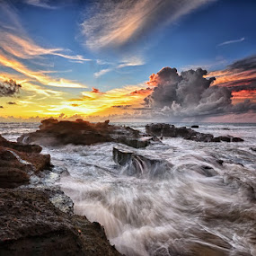 Rock in my soul by Hendri Suhandi - Landscapes Beaches ( clouds, water, bali, sunset, stone, sea, rock, beach, sunrise, landscape )