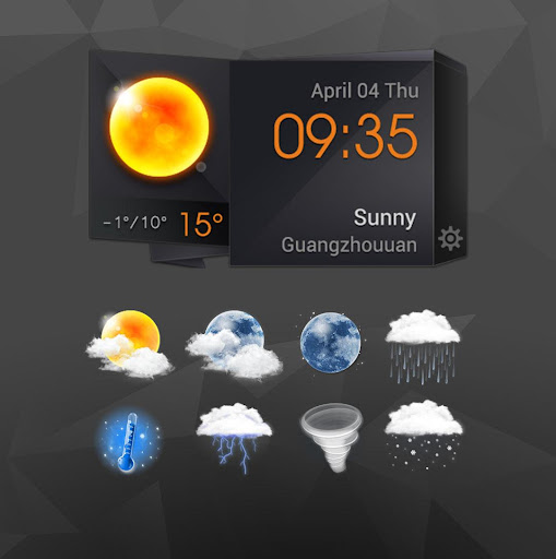3D Clock Weather Solid Black