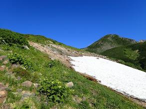 雪渓の横を通る