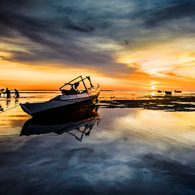 Boat and Surfers by Sonny Saban - Landscapes Sunsets & Sunrises ( rote, wallpaper, beach, travel, boat )