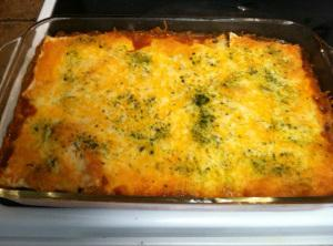 Layer tortillas, meat, cheese and repeat, ending with cheese.   Bake at 400 until...