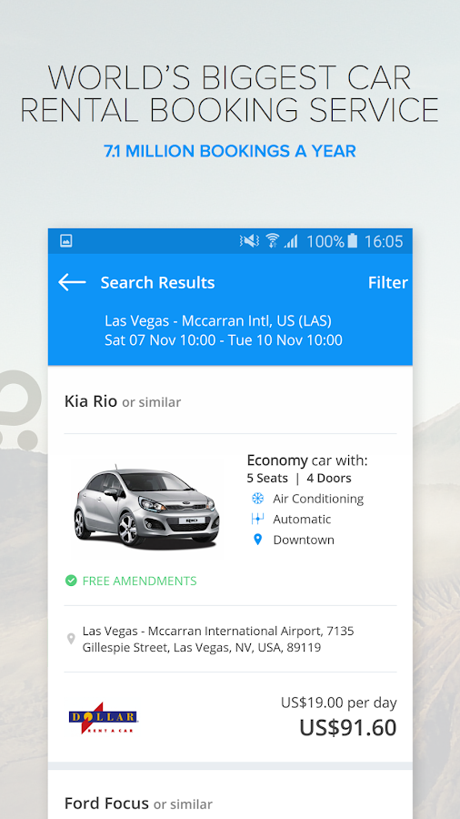 Rentalcars.com Car hire App- screenshot