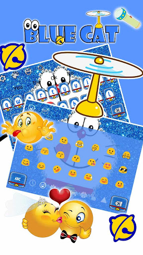 Kawaii Blue Cat Diamond Keyboard 10001001 screenshots 3