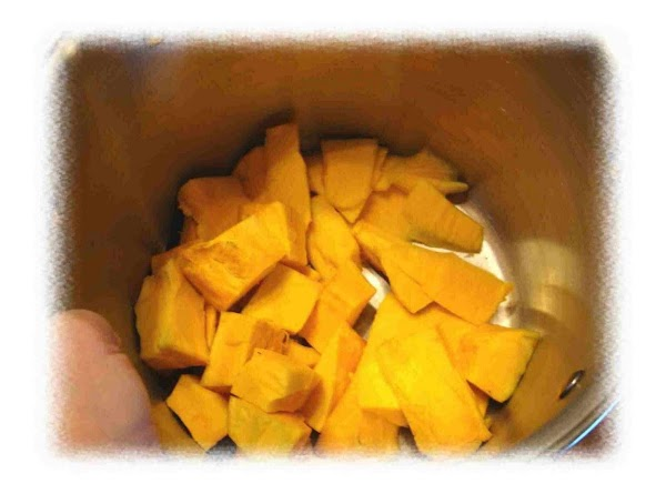 Cut up pumpkin into small pieces.  Then, take 4 cups and place in...