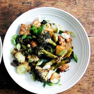 Crispy Tofu and Broccoli With Sesame-peanut Pesto.