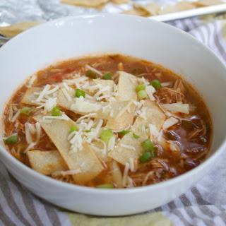 Crockpot Chicken Tortilla Soup (with crunchy baked tortilla strips)..
