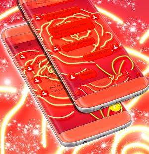 Neon Rose SMS Téma - náhled