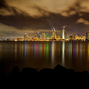 San Diego at Night by Dave Files - City,  Street & Park  Skylines ( water, clouds, san diego, night, digital, city )