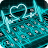 Neon Blue Heart Stylish Reading Icône