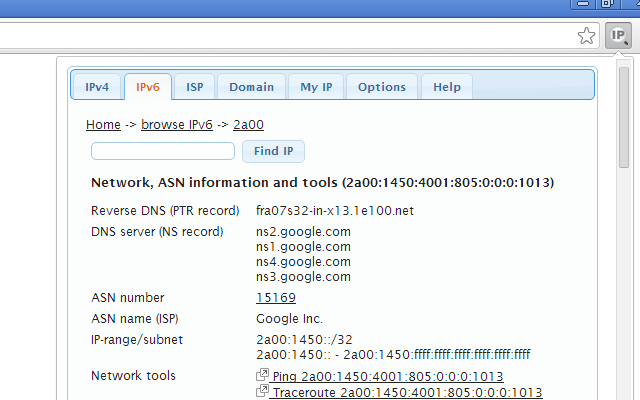 IP Address and Domain Information - Chrome Web Store