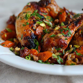 Sweet and Spicy Roast Chicken with Carrots, Dates and Pistachios.