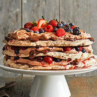 Boccone Dolce Meringue with Chocolate Cream and Berries.