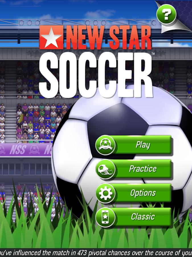 Pantalla de inicio New Star Soccer
