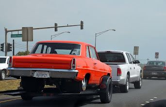 Photo: Joe Crivello's newly-repainted Chevy Nova on the way to the track...