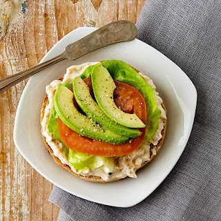 Maple Bacon Cream Cheese topped with Avocado Bagel.