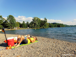 Photo: Two visitors relax on the beach at Lake St. Catherine State Park by Belinda Lafountain