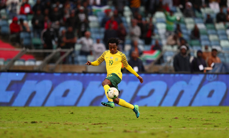 Percy Tau during the 2019 Africa Cup of Nations qualifying match between South Africa and Libya at Moses Mabhida Stadiium on September 08, 2018 in Durban, South Africa.