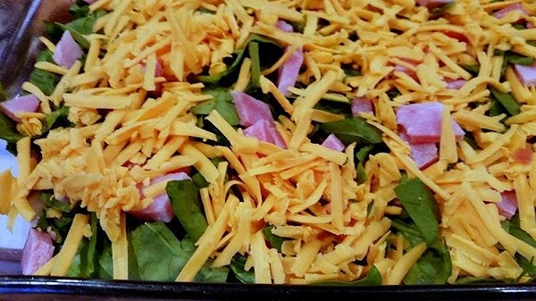 Sprinkle with remaining ham and 2 cups of shredded cheese, evenly.