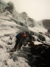 """Photo: Andy Owen leads """"Ice Crew"""", III, on Beinn Udlaidh in less than ideal conditions."""