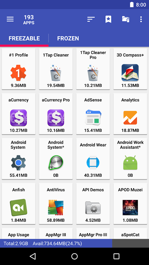 AppMgr Pro III (App 2 SD)- screenshot