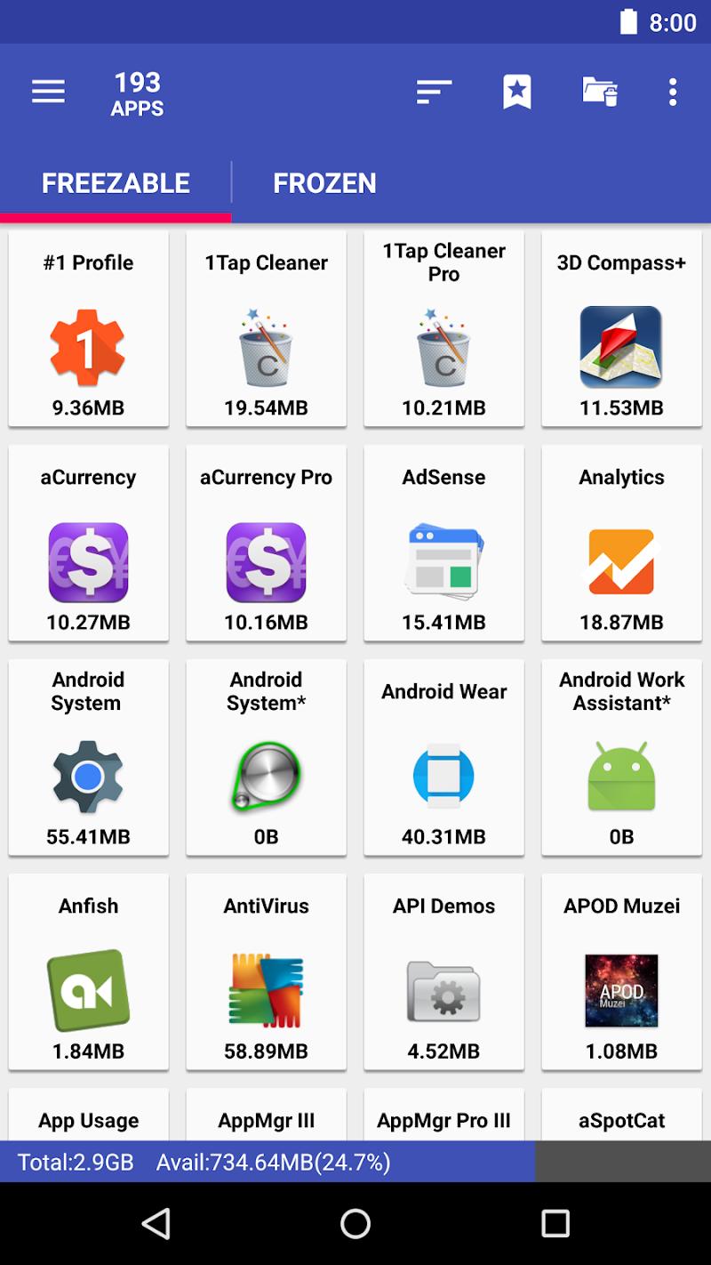 AppMgr Pro III (App 2 SD, Hide and Freeze apps) Screenshot 2