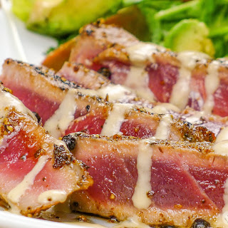 Pepper Crusted Ahi Tuna with Tahini Sauce